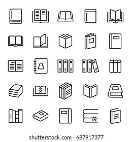 Set of 25 book thin line icons. High quality pictograms of read. Modern outline style icons collection. Diary, library, pages, textbook, etc.