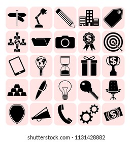 Set of 25 business high quality icons or symbols. Collection. Flat design. Vector Illustration.