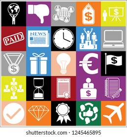 Set of 25 business high quality icons. Collection. Detailed design. Vector Illustration.