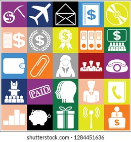 Set of 25 business high quality symbols. Collection. Amazing desing. Vector Illustration.