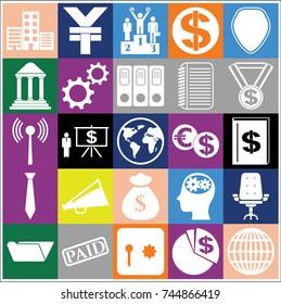 Set of 25 business high quality symbols. Collection. Flat design. Vector Illustration.