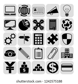 Set of 25 business icons. Collection. Detailed design. Vector Illustration.