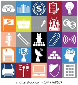 Set of 25 business icons, pictograms, symbols. Collection. Detailed design. Vector Illustration.