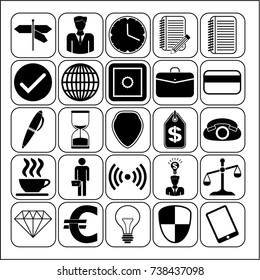 Set of 25 business icons or symbols. Collection. Amazing desing. Vector Illustration.