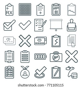 Set of 25 check outline icons such as briefcase with weapon, stamp, medal, tick, chess board, credit card, check list, clipboard with chart, clipboard, medical clipboard