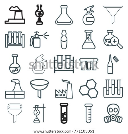 Set 25 Chemical Outline Icons Such Stock Vector (Royalty