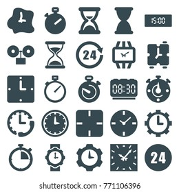 Set of 25 clock filled icons such as hourglass, stopwatch, clock, 24 hours, wrist watch for woman, wrist watch