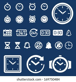 Set of 25 clock, time and alarm icons