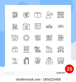 Set of 25 Commercial Lines pack for mixer; console; box; cd; lock Editable Vector Design Elements