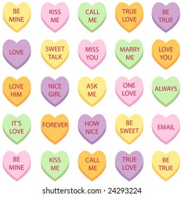 set of 25 conversation hearts