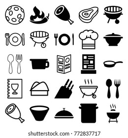 Set of 25 cook filled and outline icons such as beef, barbeque, pot, bbq, plate fork and spoon, menu, bowl, pan, knife, chef hat, extinct sea creature, chili, spoon and fork