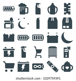 Set of 25 editable filled full icons such as baby bottle, cleanser, battery, shopping cart, endless battery, cargo container, batery, no charge, crescent moon