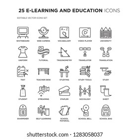 Set of 25 E-LEARNING AND EDUCATION linear icons such as Whiteboard, Web camera, Vocabulary, Video player, University, vector illustration of trendy icon pack. Line icons with thin line stroke.