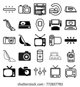 Set of 25 electronics filled and outline icons such as tv system, tv, tv, dvd player, camera, iron, vacuum cleaner, mri, cpu in head, laptop with heart, equalizer, battery