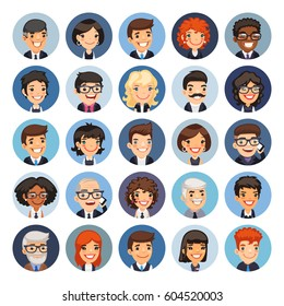 Set of 25 flat business round avatars on color circles. Office people. Clipping paths included.