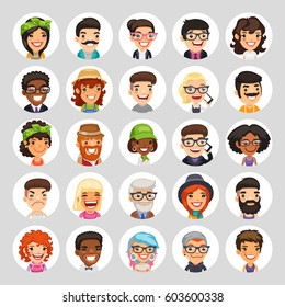 Set of 25 flat cartoon round avatars on white circles. Casual people. Clipping paths included.