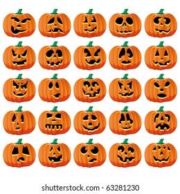 Set of 25 halloween pumpkins with Jack O`Lantern face, part 15, vector illustration