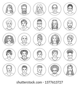 Set of 25 hand drawn avatars, diverse portraits of people of different ethnicities