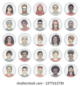 Set of 25 hand drawn avatars, colorful and diverse portraits of people of different ethnicities