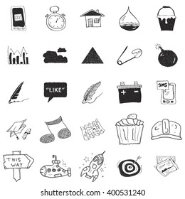 Set of 25 hand drawn doodle illustrations