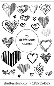 Set of 25 hand drawn heart. Handdrawn rough marker hearts isolated on white background. Vector illustration for your graphic design