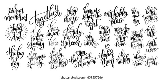 set of 25 hand written lettering to photography family overlay, postcard, poster and photo album element, calligraphy vector illustration collection