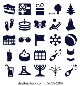 Set of 25 holiday filled icons such as ball, present, flip flops, gift, bell, christmas tree, tree and bench, piece of cake, calendar, swim suit, bow, flag, fireworks