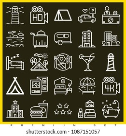 Set of 25 holidays outline icons such as umbrella, beach, caravan, parking, high definition, 4k, brochure, breakfast, bathtub, tent, lighthouse, bed, hotel, room service