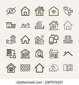 Set of 25 home outline icons such as house, home, web page home, resort, mortgage, house roof, key, hide, hotels, roof, house frame, homepage, remote control