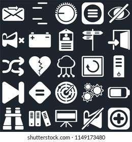 Set Of 25 icons such as Add, Muted, Television, Archive, Binoculars, Exit, Restart, Radar, Next, Mute, Volume control, Lines, web UI editable icon pack, pixel perfect