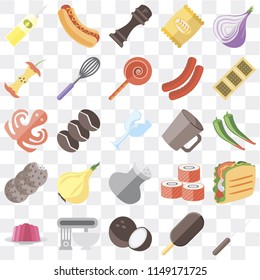 Set Of 25 icons such as Fork, Ice cream, Coconut, Mixer, Jelly, Biscuit, Mug, Salt, Cookies, Apple, Pepper, Hot dog, web UI transparent icon pack, pixel perfect