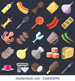 Set Of 25 icons such as Fork, Ice cream, Coconut, Mixer, Jelly, Biscuit, Mug, Salt, Cookies, Apple, Pepper, Hot dog on black background, web UI editable icon pack