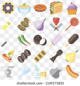Set Of 25 icons such as Hot dog, Salt, Dairy, Glass, Scale, Jawbreaker, Ice cream, Biscuit, Pizza, Oil, Pie, Pasta, web UI transparent icon pack, pixel perfect