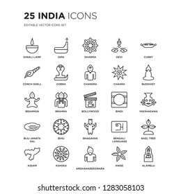 Set of 25 india linear icons such as Diwali lamp, Dipa, Dharma, Devi, Curry, buddhist, yakshagana, Bael tree, Ashoka, Alamelu, vector illustration of trendy icon pack. Line icons with thin line