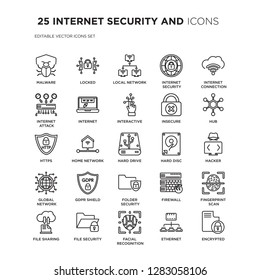 Set of 25 INTERNET SECURITY AND linear icons such as Malware, Locked, Local network, internet security, Internet connection, vector illustration of trendy icon pack. Line icons with thin line stroke.