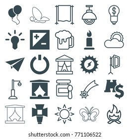 Set of 25 light filled and outline icons such as candle, solar energy, bulb, binoculars with dollar sign, soft box, light exposure, switch off, paper plane, sun, baby food