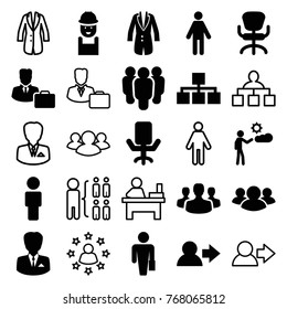 Set of 25 manager filled and outline icons such as office chair, worker, user, man with case, man, group, structure, jacket, male consultant   with case, businessman
