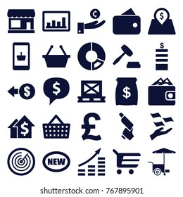 Set of 25 market filled icons such as store, coin, money on hand, nail gun, wallet, shopping basket, shopping cart, coin, new, fast food cart, pie chart, money growth