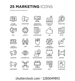 Set of 25 Marketing linear icons such as Online marketing, Megaphone, marketing Presentation, Graph, , vector illustration of trendy icon pack. Line icons with thin line stroke.