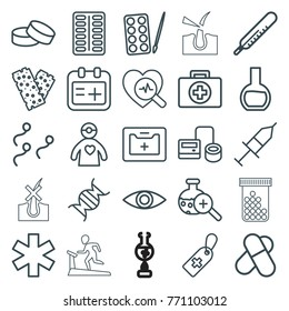 Set of 25 medicine outline icons such as thermometer, paints, tablet, pill, first aid, blod pressure tool, medical cross tag, medical sign, bandage, dna, heartbeat search