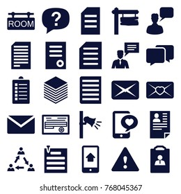 Set of 25 message filled icons such as chatting man, document, mail, paper, direction board, exclamation, love letter, phone with heart, communication, resume