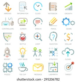 Set of 25 minimal business icons in outline style. Vector. Can be used for web design, workflow layout and infographic
