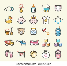Set of 25 Minimal Solid Line Colored Baby Icons. Isolated Vector Elements.
