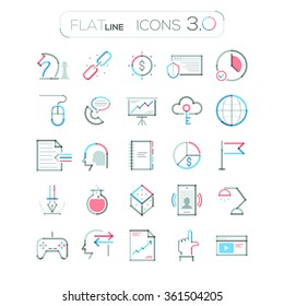 Set of 25 minimal thin line connection business icons. Modern vector illustration. Can be used for web design, workflow layout, advertising, infographic, presentations, website, games, applications