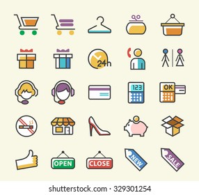 Set of 25 Minimalistic Solid Line Coloured Shopping Icons. Isolated Vector Elements.