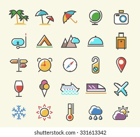 Set of 25 Minimalistic Solid Line Coloured Travel Icons. Isolated Vector Elements.