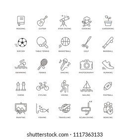 Set of 25 modern and colorful flat line icons representing interests and hobbies. They can be used on your CV / resume or on websites, mobile apps and print (e.g. business cards).