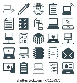 Set of 25 notebook filled and outline icons such as check list, checklist, laptop with heart, laptop, envelope, pen, paper, notebook, pointing on document