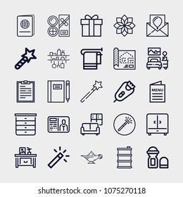 Set Of 25 Other Outline Icons Such As Notebook, Birthday Card, Barrel, Wand