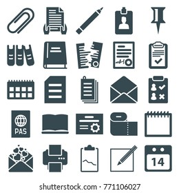 Set of 25 paper filled icons such as pen, pin, check list, calendar, paper, love letter, envelope, clipboard, clip, binder, book, signed document, 14 date calendar, diploma